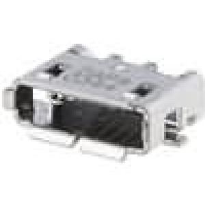 Zásuvka USB AB micro na plošný spoj SMT 5 PIN vodorovné