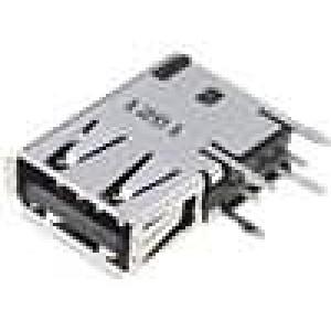Zásuvka USB A na plošný spoj THT 4 PIN boční, úhlové 90°