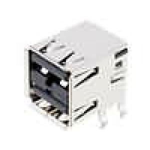 Zásuvka USB A na plošný spoj THT 8 PIN úhlové 90° dvojité