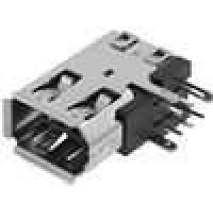 Zásuvka IEEE1394 THT 6 PINúhlové 90° boční
