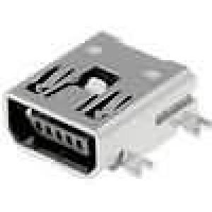 Zásuvka USB AB mini na plošný spoj SMT 5 PIN vodorovné