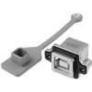 Zásuvka USB B do panelu, šroubovací THT úhlové 90° IP67 M3