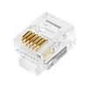 Konektor RJ12 zástrčka 6 PIN Kontakty fosforový bronz