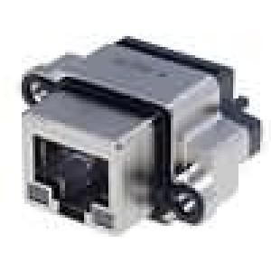 Konektor RJ45 zásuvka s diodou LED UL94V-0 IP68 THT přímý