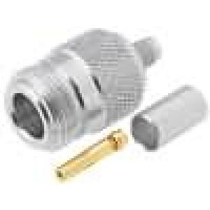 Zástrčka N zásuvka přímý 50Ω H155 krimpovací na kabel teflon