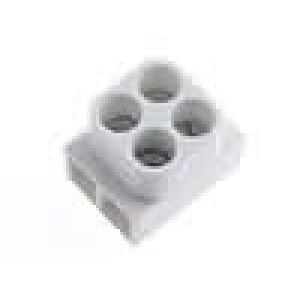 Svorkovnice póly:2 šroubová svorka 2,5mm2 24A bilá 250V