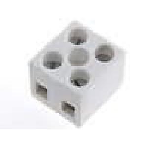 Svorkovnice póly:2 šroubová svorka 4mm2 32A bilá 500V
