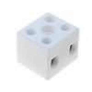 Svorkovnice póly:2 šroubová svorka 10mm2 450V Mat keramický