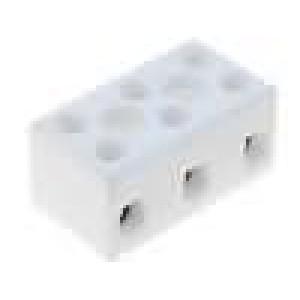 Svorkovnice 3 PIN šroubová svorka 4mm2 450V Mat keramický