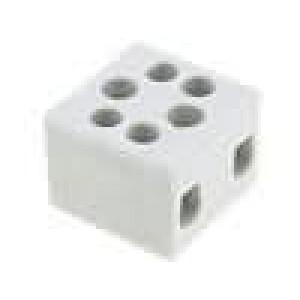 Svorkovnice póly:2 šroubová svorka 6mm2 41A 500V