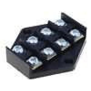 Svorkovnice póly:4 šroubová svorka 2,5mm2 černá 450V