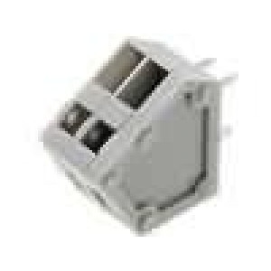 Svorkovnice úhlové 45° 2,54mm póly:2 4A šedá 150V