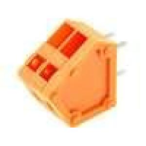 Svorkovnice úhlové 45° 2,54mm póly:2 4A oranžová 150V