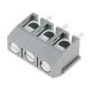 Svorkovnice úhlové 90° 1,5mm2 5mm 3 PIN pocínovaný 15A šedá