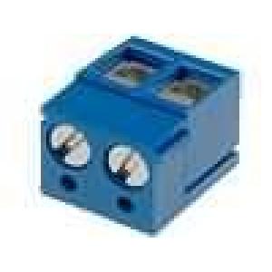 Svorkovnice přímý 2,5mm2 5mm póly:2 16A modrá 250V H:9mm