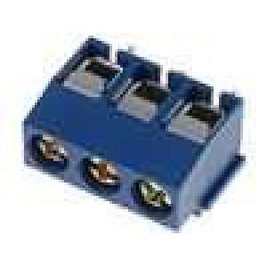 Svorkovnice úhlové 90° 1,5mm2 5mm 3 PIN 8A modrá 300V D:8mm