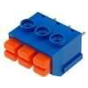 Svorkovnice s tlačítkem úhlové 90° 5mm 3 PIN 8A 16-22AWG