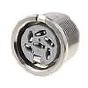 Zásuvka DIN zásuvka 6 PIN vývody 240° THT stříbřený