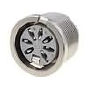 Zásuvka DIN zásuvka 7 PIN  vývody 270° THT stříbřený