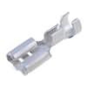 Konektor plochý 6,3mm 0,8mm zásuvka 2-3mm2 krimpovací mosaz