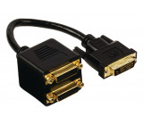 Rozbočovací kabel DVI, 24+1pinová zástrčka DVI-D – 2× 24+1pinová zásuvka DVI-D, 0,20 m, černý