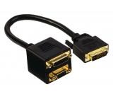 Adaptérový kabel DVI, 24+5pinová zástrčka DVI-I – 24+5pinová zásuvka DVI-I + zásuvka VGA, 0,20 m, černý