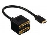 Rozbočovací kabel HDMI – DVI, konektor HDMI – 2× 24+1pinová zásuvka DVI-D, 0,20 m, černý