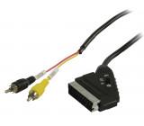 Přepínací kabel SCART – RCA, zástrčka SCART – 2× zástrčka RCA, 2,00 m, černý