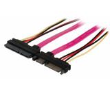 Prodlužovací kabel SATA, 22 pinů, 7-pinová + 15-pinová zástrčka SATA - 7-pinová + 15-pinová zásuvka SATA, 0,50 m, více barev