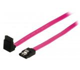 Datový kabel S-ATA II 3 Gb/s, 7-pinová zásuvka SATA se zámkem - 7-pinová zásuvka SATA se zámkem, úhlová 270°, 1,00 m, červený