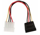 Redukční kabel interního napájení, 15-pinová zásuvka SATA - zástrčka Molex, 0,15 m, více barev