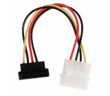 Redukční kabel interního napájení, 15-pinová zásuvka SATA, úhlová 90° - zástrčka Molex, 0,15 m, více barev