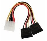 Rozbočovací kabel interního napájení, zástrčka Molex - 2× 15-pinová zásuvka SATA, 0,15 m, více barev