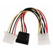 Redukční kabel interního napájení, 15-pinová zásuvka SATA - zástrčka Molex + zásuvka Molex, 0,15 m, více barev