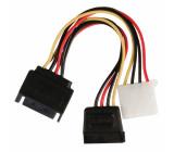 Redukční kabel interního napájení, 15-pinová zástrčka SATA - zásuvka Molex + 15-pinová zásuvka SATA, 0,15 m, více barev