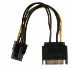 Redukční kabel interního napájení, zásuvka PCI Express - 15-pinová zástrčka SATA, 0,15 m, více barev