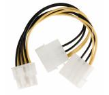 Rozbočovací kabel interního napájení, 8-pinový konektor EPS - 2× zástrčka Molex, 0,15 m, více barev