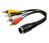 Redukční audio kabel DIN, 4× zástrčka RCA - 5pin zásuvka DIN, 0,20 m, černý