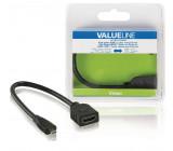 High Speed HDMI kabel s ethernetem, HDMI micro zástrčka – HDMI zásuvka, 0,20 m, černý