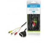 Přepínací kabel SCART – RCA, zástrčka SCART – 3× zástrčka RCA, 3,00 m, černý