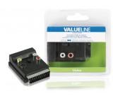 Přepínací AV adaptér SCART, zástrčka SCART – zásuvka SCART + 3× zásuvka RCA + zásuvka S-Video, černý