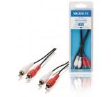 Stereo audio kabel RCA, 2× zástrčka RCA - 2× zástrčka RCA, 1,00 m, černý