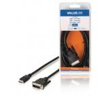 Kabel, konektor HDMI - 24 + 1-pinová zástrčka DVI-D, 2,00 m, černý