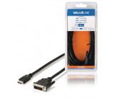 Kabel, konektor HDMI - 24 + 1-pinová zástrčka DVI-D, 3,00 m, černý