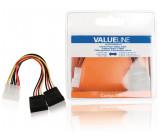 Redukce interního napájení, zástrčka Molex – 2× 15pinová zásuvka SATA, 0,15 m, více barev