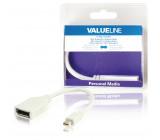 Redukční kabel mini DisplayPort, zástrčka mini DisplayPort - zásuvka DisplayPort, bílý, 0,20 m