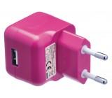 AC nabíječka, USB A zásuvka – AC síťová zástrčka, růžová
