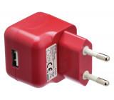 AC nabíječka, USB A zásuvka – AC síťová zástrčka, červená