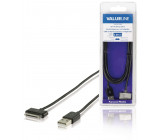 Synchronizační a nabíjecí kabel pro zařízení Apple iPad, iPhone a iPod, 30pinový konektor - zástrčka USB 2.0 A, černý, 2,00 m