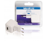AC nabíječka, USB A zásuvka – AC zásuvka do sítě, bílá 2.1A